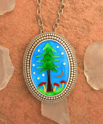 Cloisonne enamel Mushroom and forest necklace