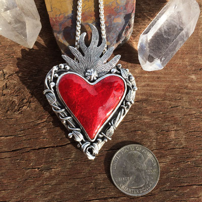 Red enamel sacred heart with vines necklace