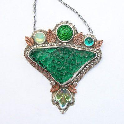 Green antique plate necklace #2