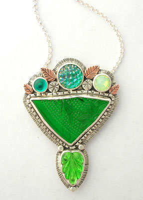 Green Vintage glass pendant #1