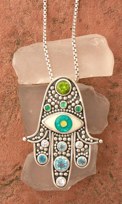 Hamsa with cloisonne enamel evil eye