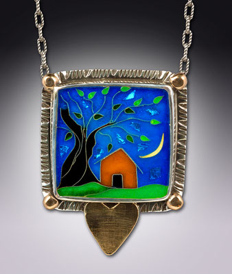 Cloisonne enamel Home is Where the Heart Is