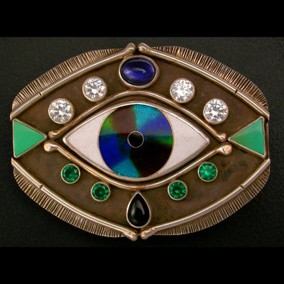 Cloisonne enamel Evil eye belt buckle