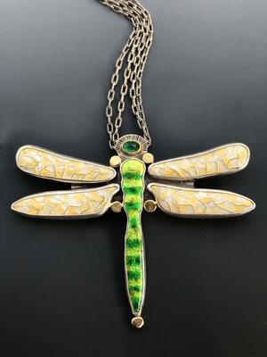 Cloisonne enamel green dragonfly