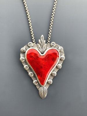 Red enamel sacred heart necklace