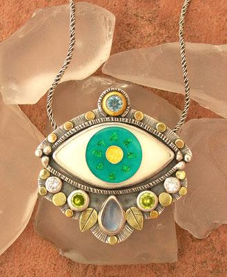 Cloisonne enamel Evil eye statement pendant