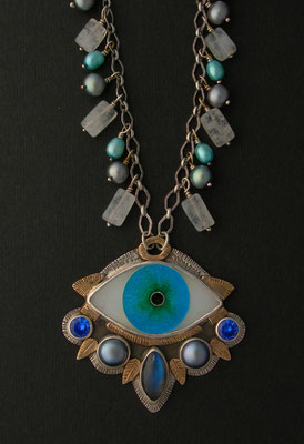 Cloisonne enamel evil eye statement necklace #1