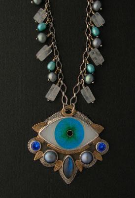 Cloisonne enamel evil eye statement necklace #1