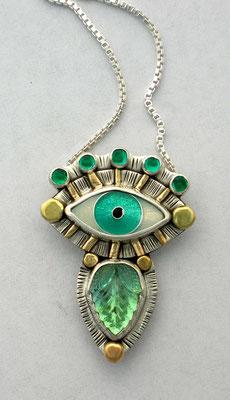 Cloisonne enamel Evil eye and vintage glass pendant