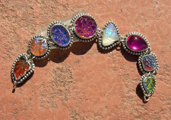 Vintage glass charm bracelet-purple
