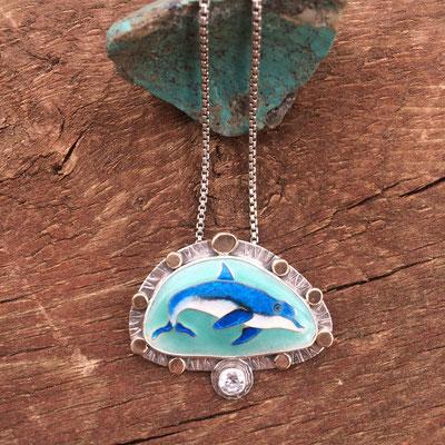 Cloisonne enamel dolphin necklace