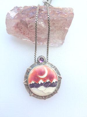 cloisonne enamel mountain scape necklace