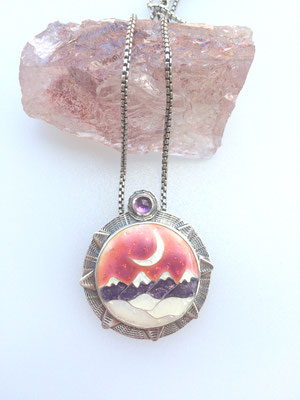 cloisonne enamel mountain scape necklace