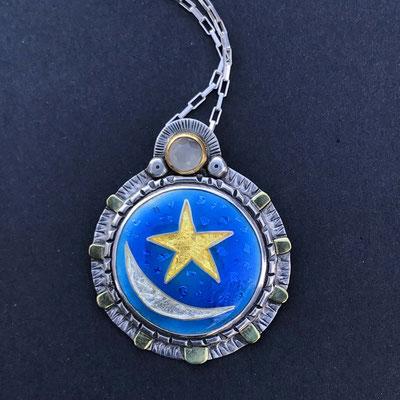 Cloisonne enamel sun, moon and stars necklace