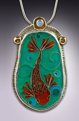 Cloisonne enamel Koi fish Pendant