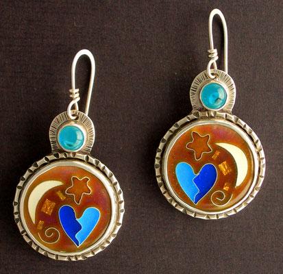 Cloisonne enamel Heart and moon earrings