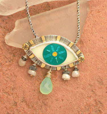 Cloisonne enamel Evil eye with tears