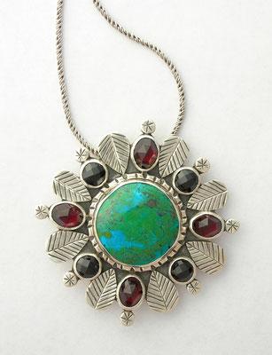Chrysocolla, garnet and black spinel pendant