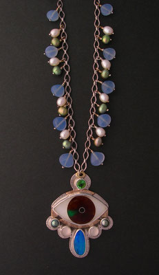 Cloisonne enamel Evil eye Statement necklace #3