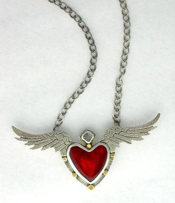 Flying heart with raw diamond necklace