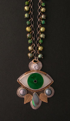 Cloisonne enamel Evil eye statement necklace #2