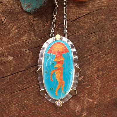 cloisonne enamel jellyfish necklace