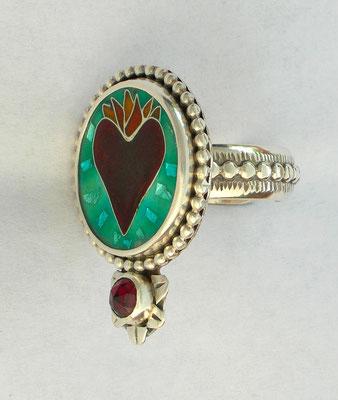 Sacred heart cloisonne ring