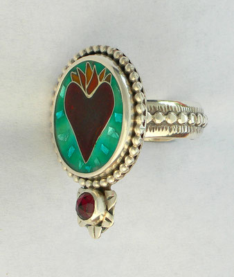 Sacred heart cloisonne ring