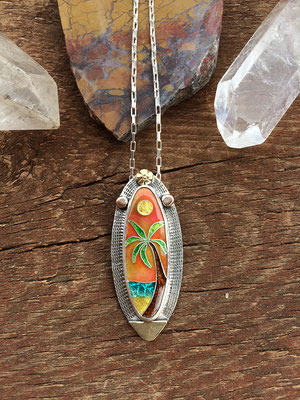 Cloisonne enamel sunset beach
