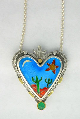 Cloisonne enamel Sonoran Desert Heart