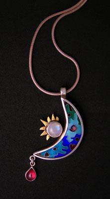 Cloisonne enamel Crescent moon and sun pendant