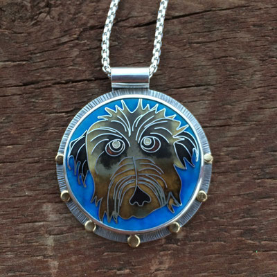Custom cloisonne enamel dog portrait-Webster