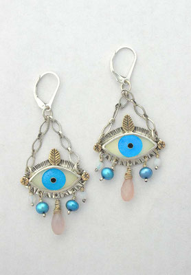 Cloisonne enamel Evil eye earrings #1