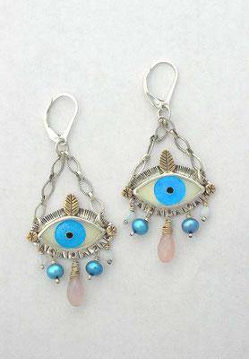 Cloisonne enamel Evil eye earrings #1