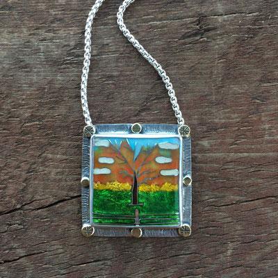 Custom cloisonne enamel tree necklace