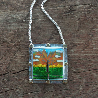 Custom cloisonne enamel tree necklace