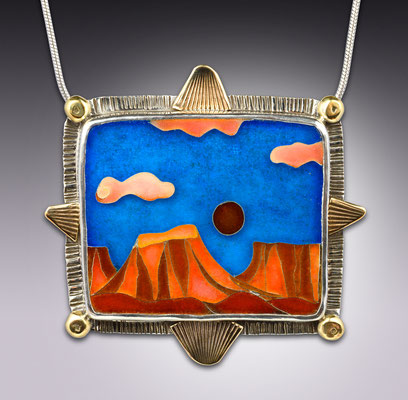 Cloisonne enamel Bookcliff Mountains, Grand Junction CO.