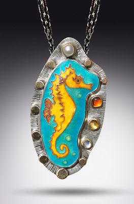 Cloisonne enamel seahorse necklace