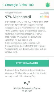 """Erläutert die Strategie """"Global 100"""" von VIAC."""