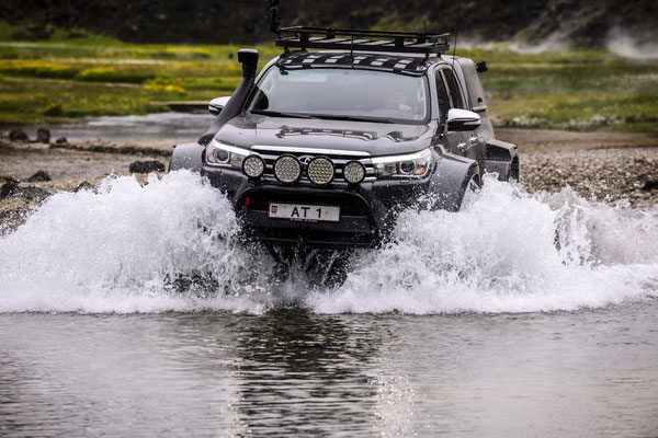 River crossing with a Jeep in Iceland