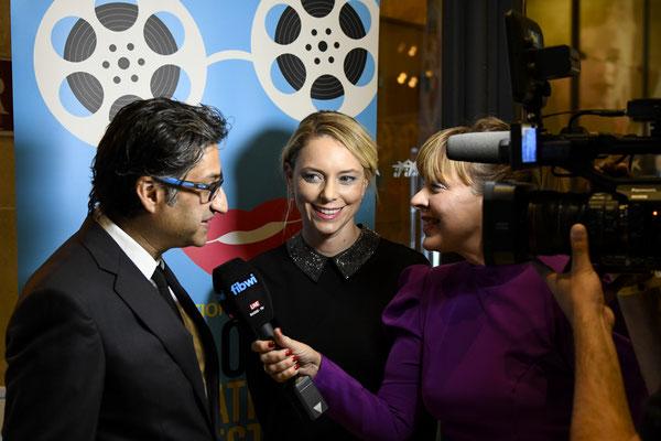 Sandra Seeling und Asif Kapadia, Veranstalterin des Events mit Oscarpreisträger