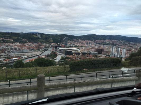 Ausblick vom Stellplatz auf Bilbao