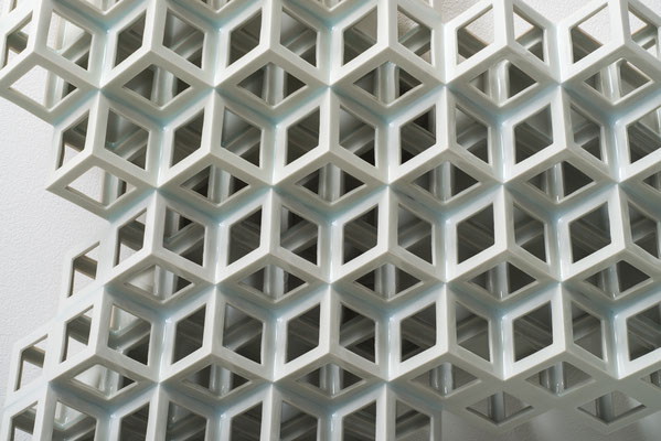 Lattice receptacle‐Polycrystal(triple), 2013, Porcelain, h.47×w.44×d.11cm