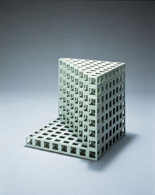 Lattice receptacle 04‐2, 2004, Porcelain, h.35×w.35×d.35cm