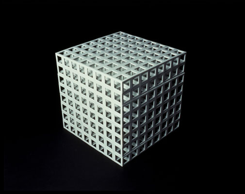 Lattice receptacle‐01, 2001, Porcelain, h.35×w.35×d.35cm