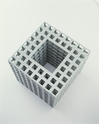 Lattice receptacle‐04, 2004, Porcelain, h.35×w.35×d.35cm