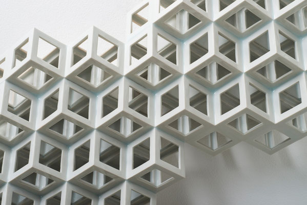 Lattice receptacle‐Polycrystal(twin 1), 2013, Porcelain, h.37×w.44×d.11cm