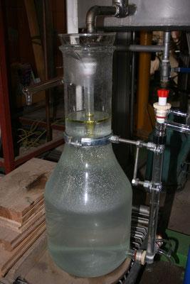 Magnifique vase florentin en verre (qui nous permet de voir l'huile essentielle qui surnage) de Chritian Nugier, un maitre es distillation- Jardin des Nielles et des Senteurs