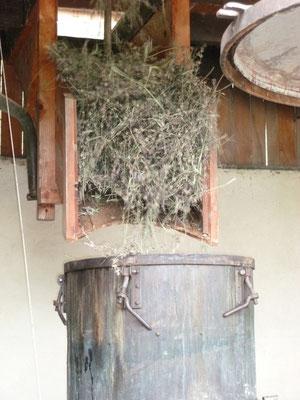 Chargement de la cuve, de petite quantité, pour une qualité de distillation soignée