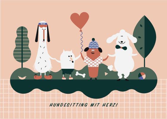Illustration Hunde, Hundesitting mit Herz, 2018, © Studio Käfig